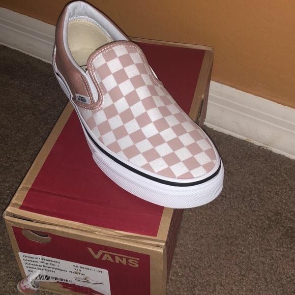 35ca421e67b vans Shoes - Vans checkerboard slip-on mahogany rose true white